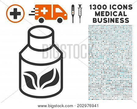 Natural Drugs grey vector icon with 1300 doctor commercial pictograms. Collection style is flat bicolor light blue and gray pictograms.