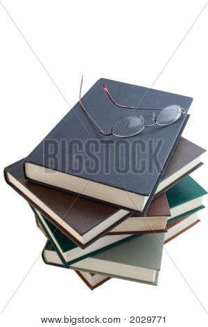 6 Books And Glasses Isolated On White