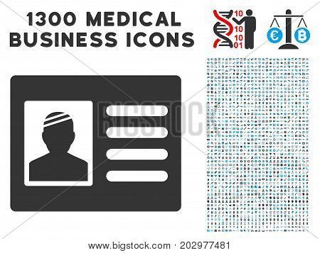 Patient Card gray vector icon with 1300 health care business pictograms. Clipart style is flat bicolor light blue and gray pictograms.
