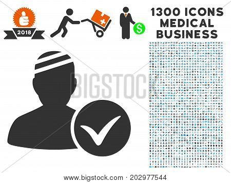 Patient Ok grey vector icon with 1300 doctor commerce pictograms. Clipart style is flat bicolor light blue and gray pictograms.
