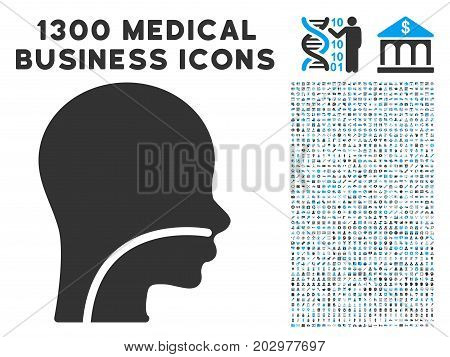 Patient grey vector icon with 1300 doctor commerce icons. Clipart style is flat bicolor light blue and gray pictograms.