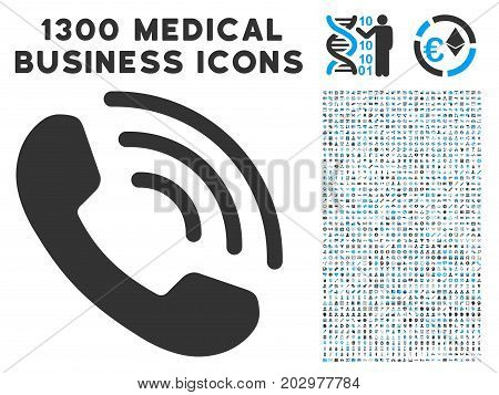 Phone Ring grey vector icon with 1300 doctor business pictographs. Collection style is flat bicolor light blue and gray pictograms.