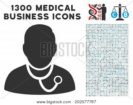 Physician grey vector icon with 1300 doctor business symbols. Collection style is flat bicolor light blue and gray pictograms.