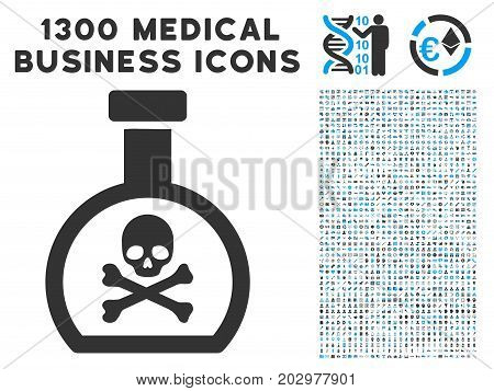 Poison Retort gray vector icon with 1300 healthcare commerce pictograms. Collection style is flat bicolor light blue and gray pictograms.