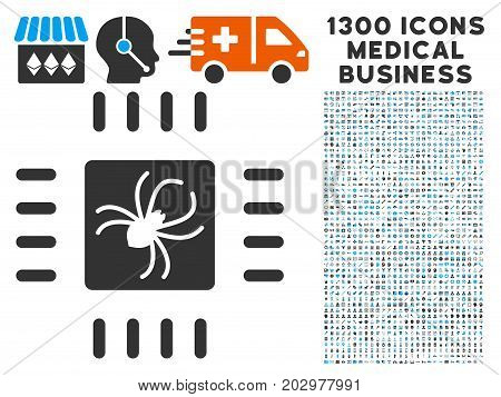 Processor Bug grey vector icon with 1300 health care commerce symbols. Collection style is flat bicolor light blue and gray pictograms.