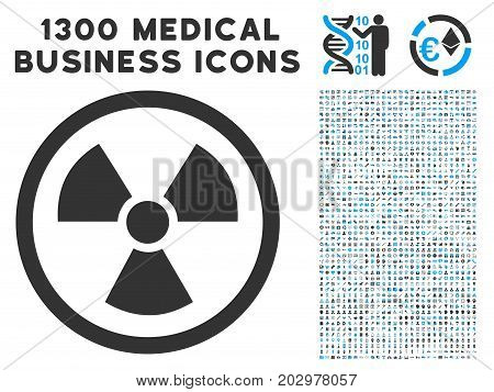 Radioactive grey vector icon with 1300 healthcare commercial pictograms. Clipart style is flat bicolor light blue and gray pictograms.