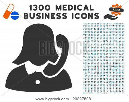 Reception Girl grey vector icon with 1300 healthcare commerce icons. Set style is flat bicolor light blue and gray pictograms.