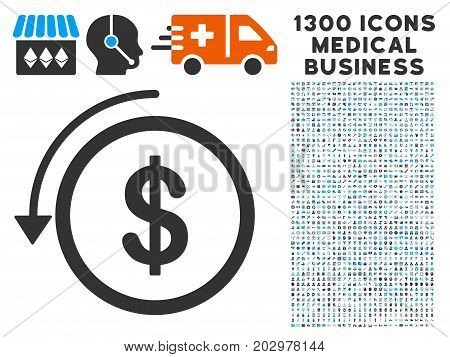 Refund gray vector icon with 1300 doctor business pictographs. Set style is flat bicolor light blue and gray pictograms.