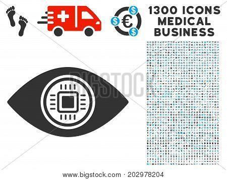 Robotics Vision grey vector icon with 1300 clinic business icons. Clipart style is flat bicolor light blue and gray pictograms.