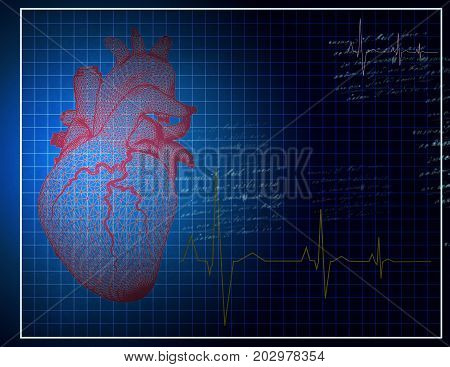 Poster for a cardiologist with a grid simulated heart in the style of cardiogram control.