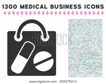 Shopping Bag gray vector icon with 1300 clinic business symbols. Collection style is flat bicolor light blue and gray pictograms.