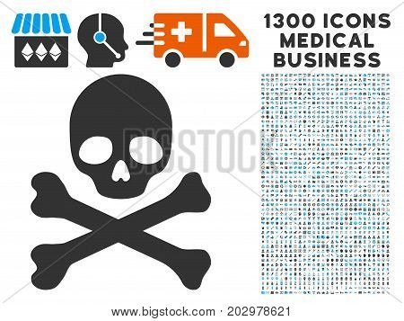 Skull And Crossbones grey vector icon with 1300 doctor business pictograms. Set style is flat bicolor light blue and gray pictograms.