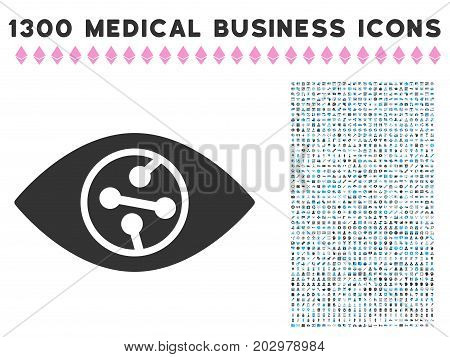 Smart Contact Lens grey vector icon with 1300 healthcare commerce symbols. Clipart style is flat bicolor light blue and gray pictograms.
