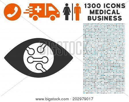 Smart Eye Lens gray vector icon with 1300 healthcare commerce pictographs. Clipart style is flat bicolor light blue and gray pictograms.