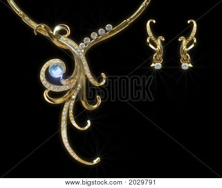 Gold Necklace And Earring With Effect Of A Luminescence