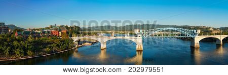 Panorama of Chattanooga with the Market Street Bridge spanning the Tennessee River