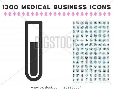 Test Tube grey vector icon with 1300 clinic commercial pictographs. Collection style is flat bicolor light blue and gray pictograms.