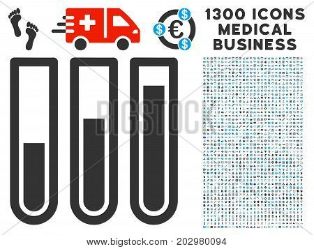 Test Tubes grey vector icon with 1300 medicine commercial symbols. Collection style is flat bicolor light blue and gray pictograms.