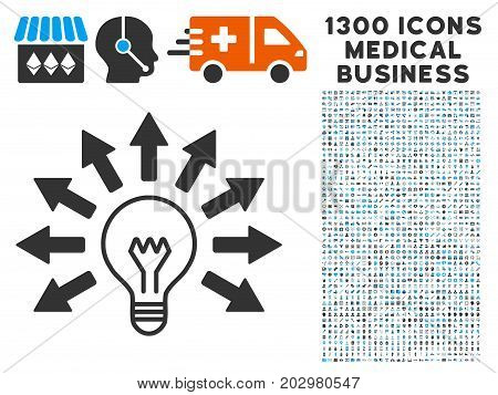 Ultraviolet Lamp grey vector icon with 1300 healthcare business symbols. Collection style is flat bicolor light blue and gray pictograms.