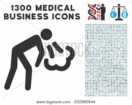 Vomiting grey vector icon with 1300 clinic commerce symbols. Set style is flat bicolor light blue and gray pictograms.