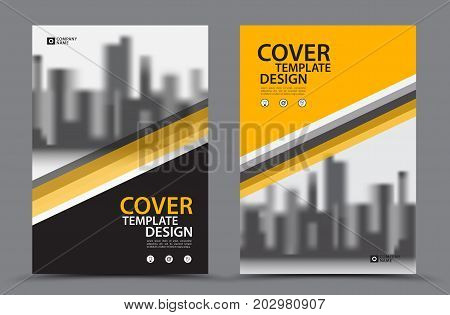Yellow Color Scheme with City Background Business Book Cover Design Template in A4. Brochure layout, Annual Report, Magazine, Poster, Presentation, Portfolio, Flyer, Banner, Website, leaflet, other.