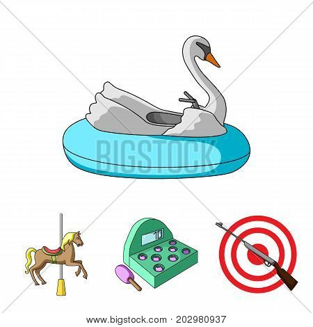 A game with a bat, a target with a gun, a horse on a carousel, a swan attraction. Amusement park set collection icons in cartoon style vector symbol stock illustration .