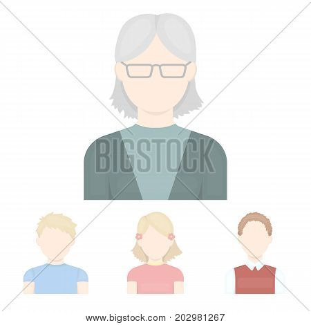 Red-haired boy, teen girl, grandmother wearing glasses.Avatar set collection icons in cartoon style vector symbol stock illustration .