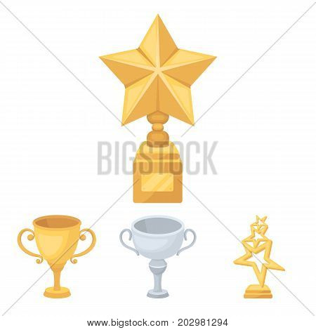 Silver cup for the second place, gold stars on the stand, a cup with a star, a gold cup.Awards and trophies set collection icons in cartoon style vector symbol stock illustration .
