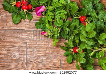 Bunch of ripe rosehips with pink rose on a wooden table