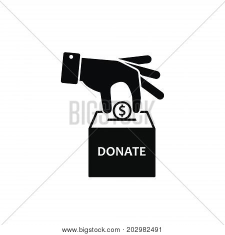 Hand putting coin in donation box. Vector icon.