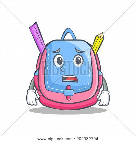 Afraid school bag character cartoon vector illustration
