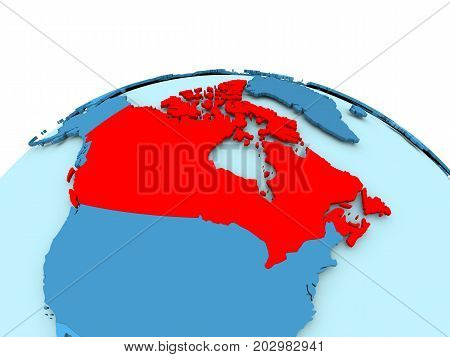 Canada On Blue Political Globe