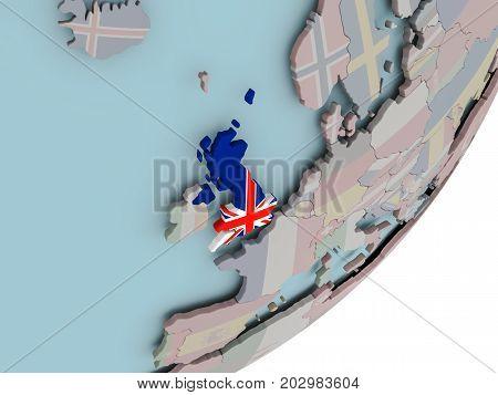 United Kingdom On Globe With Flags