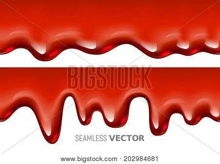 Vector seamless dripping red liquid is similar to blood or syrup on white background. Eps10. RGB. Global colors