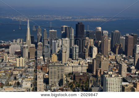 Aerial View Of Downtown San Francisco And Bay Bridge