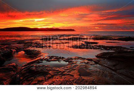 Red Sunrise Blankets Pearl Beach Australia