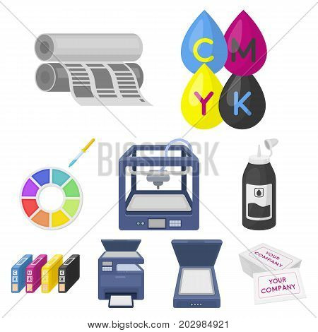 Typography set icons in cartoon style. Big collection of typography vector symbol stock