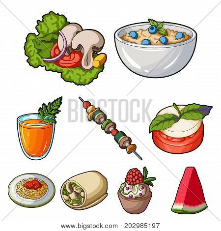 Pictures about vegetarianism. Vegetarian dishes, food vegetarian. Vegetables, fruits, herbs, mushrooms. Vegetarian dishes icon in set collection on cartoon style vector symbol stock web illustration.