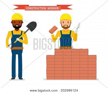 Set of male construction worker, worker lays bricks, worker standing with a shovel in his hands. Isolated against white background. Vector illustration. African American people. Cartoon flat style.