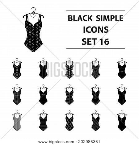 To relax on the beach, a pool of colorful swimsuits. Swimsuits set collection icons in black style vector symbol stock illustration .