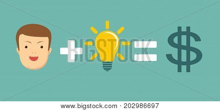 Man plus idea equal money. Money and brain make you happy and rich. Stock flat vector illustration.