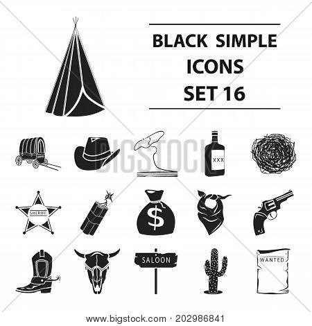 Wild west set icons in black style. Big collection wild west vector symbol stock