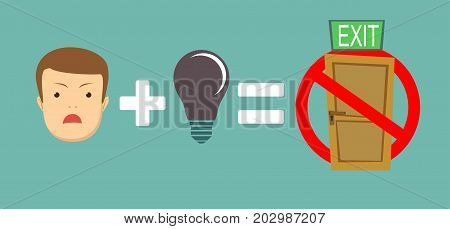 No ideas equal No exit.. Sign isolated on a white background. Stock flat vector illustration.