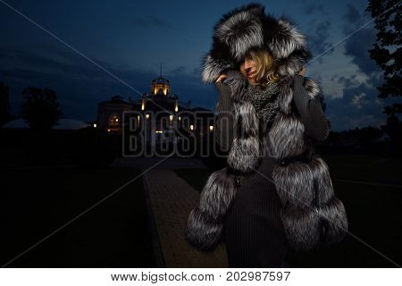 Winter Girl in Luxury Fur Coat beautiful black coat fashion