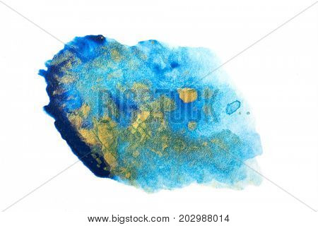 Fading transparent blue and gold abstract water color accent. isolated on white.