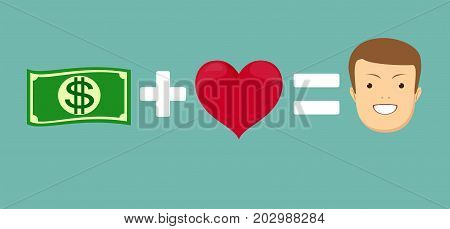 Money and loves make you happy. Heart and wad of cash. Emblem for lovers of dollars. Logo for rich