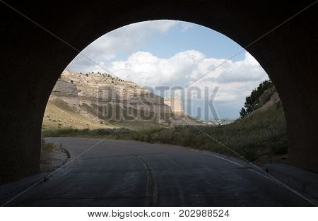 Scotts Bluff Nebraska looking thru road tunnel
