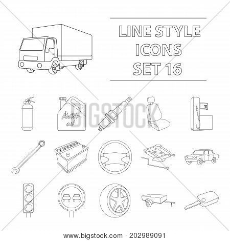 Wheel, wrench, jack and other equipment. Car set collection icons in outline style vector symbol stock illustration .