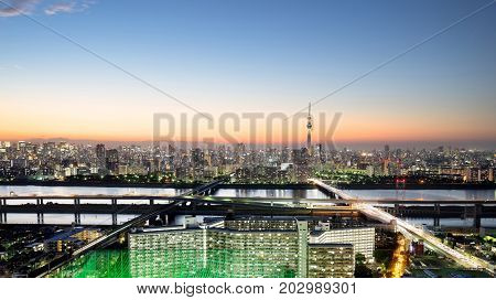 Business and culture concept for real estate and corporate construction - panoramic modern city skyline bird eye aerial night view with tokyo skytree under dramatic neon glow and beautiful dark blue sky in Tokyo Japan