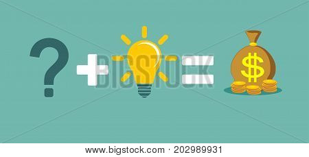 Solving a problem and make money. Solve problems will make rich. Stock flat vector illustration.